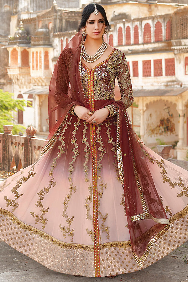 Indi Fashion Maroon and Pink Anarkali Suit