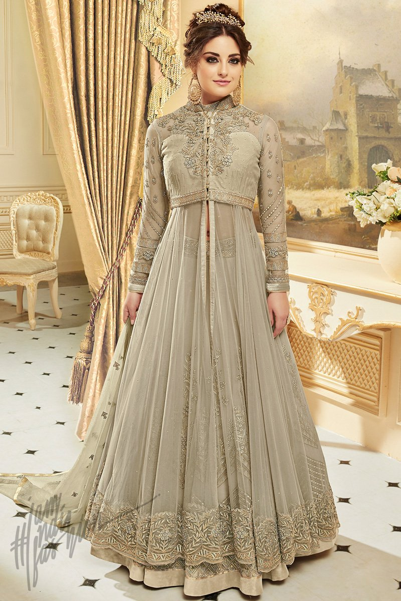 3cc6586f74 Light Olive Green Net Georgette Party Wear Lehenga - indi.fashion