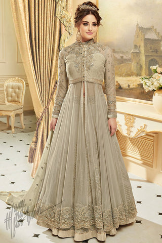 Indi Fashion Light Olive Green Net Georgette Party Wear Lehenga