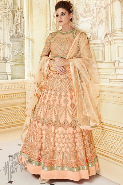 Indi Fashion Peach Net Georgette Party Wear Lehenga