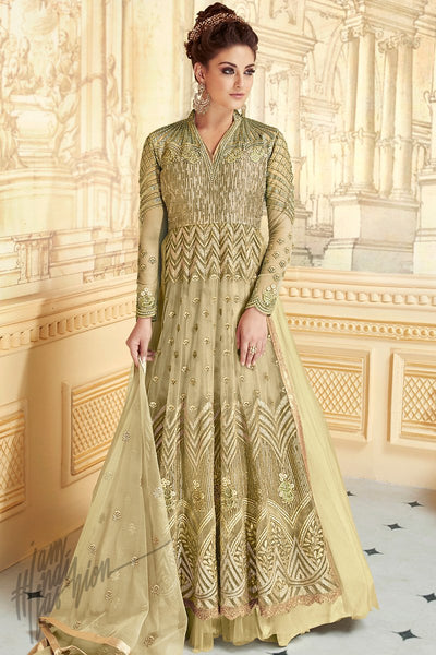 Indi Fashion Iguana Green Net Georgette Party Wear Lehenga