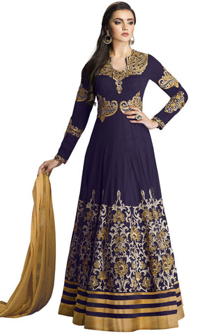 Indi Fashion Dark Purple and Beige Georgette Floor Length Anarkali Suit