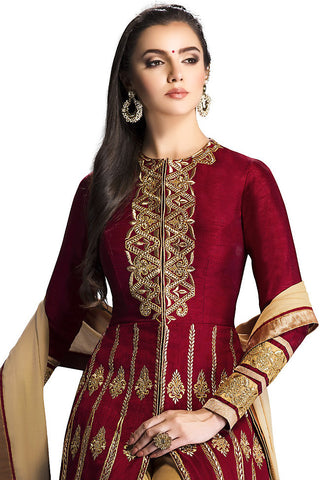 Indi Fashion Maroon and Beige Silk Floor Length Anarkali Suit