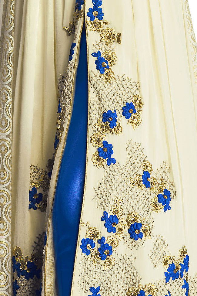 Indi Fashion Cream and Blue Georgette Floor Length Anarkali Suit