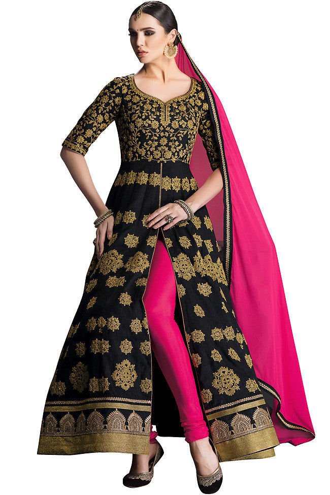 Indi Fashion Black and Pink Silk Floor Length Anarkali Suit