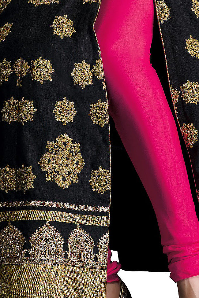 Buy Black and Pink Silk Floor Length Anarkali Suit Online at indi.fashion