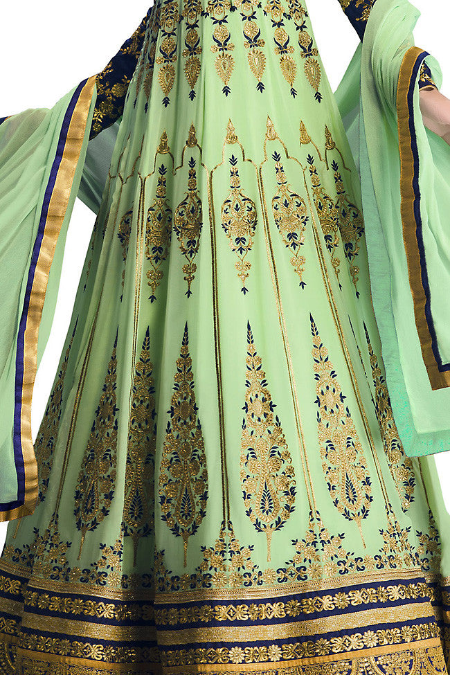 Indi Fashion Blue and Sea Green Georgette Floor Length Anarkali Suit