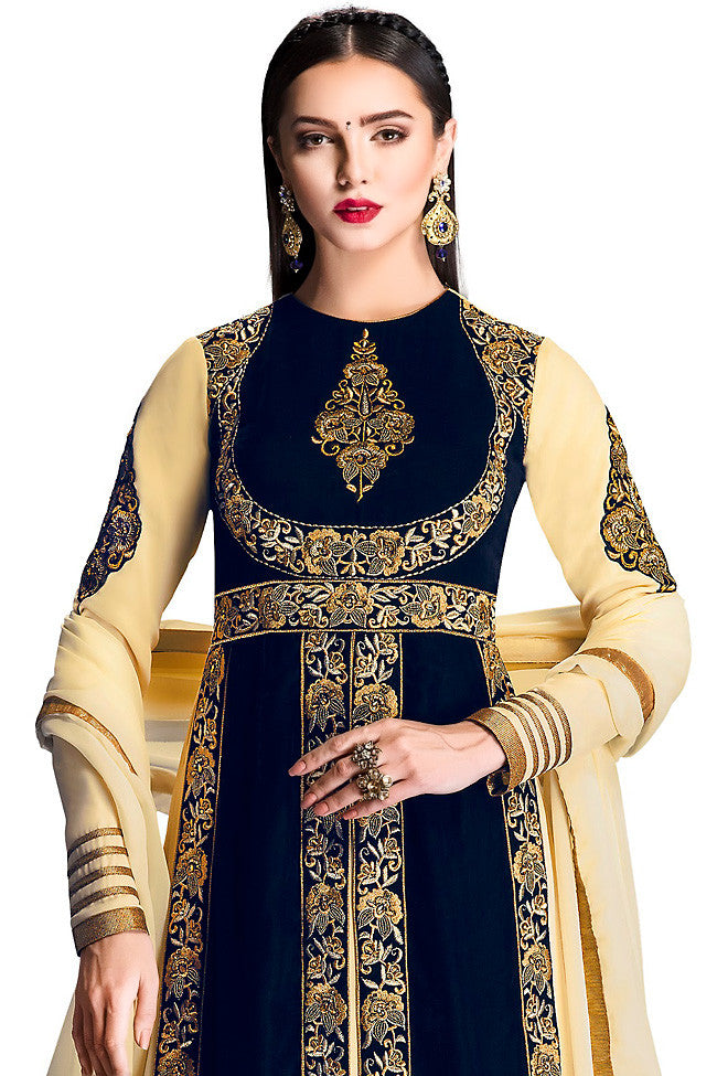 Buy Blue and Cream Velvet Floor Jacket Style Lehenga Online at indi.fashion