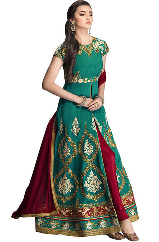 Indi Fashion Green and Maroon Silk Floor Length Anarkali Suit