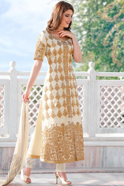 Indi Fashion Off White and Gold Cotton Party Wear Suit