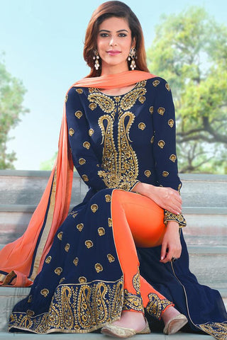 Indi Fashion Blue and Orange Faux Georgette Party Wear Suit