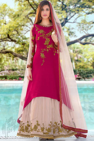 Indi Fashion Magenta and Light Peach Crepe Silk Party Wear Suit