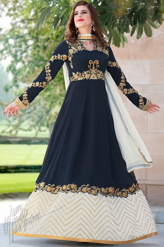 Indi Fashion Navy Blue and white Faux Georgette Party Wear Suit