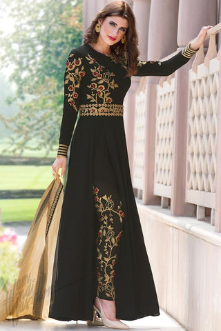 Indi Fashion Black and Gold Faux Georgette Party Wear Suit