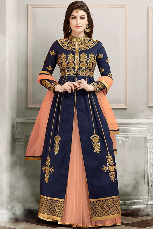 Buy Blue Peach and Gold Bangalori Silk Party Wear Suit Style Lehenga Set Online at indi.fashion