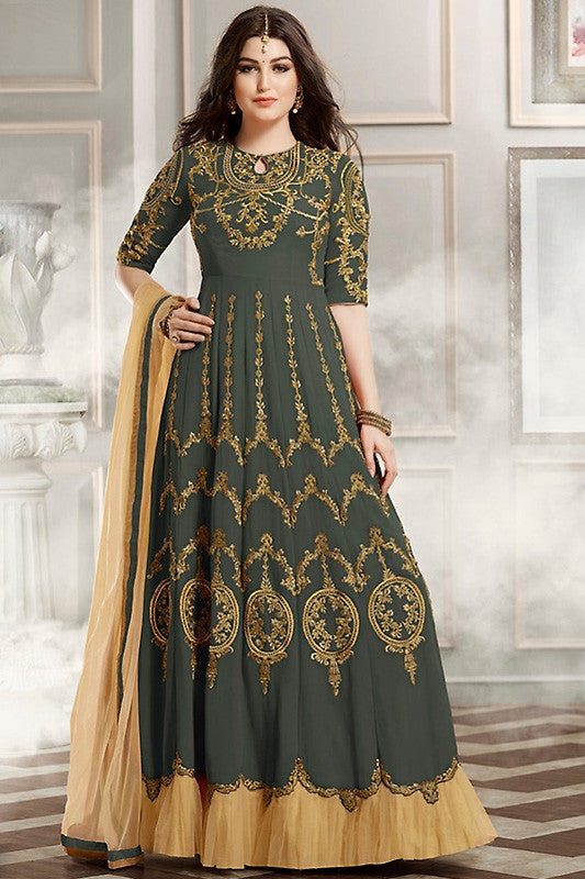 Indi Fashion Gray Asparagus and Gold Faux Georgette Party Wear Anarkali Suit