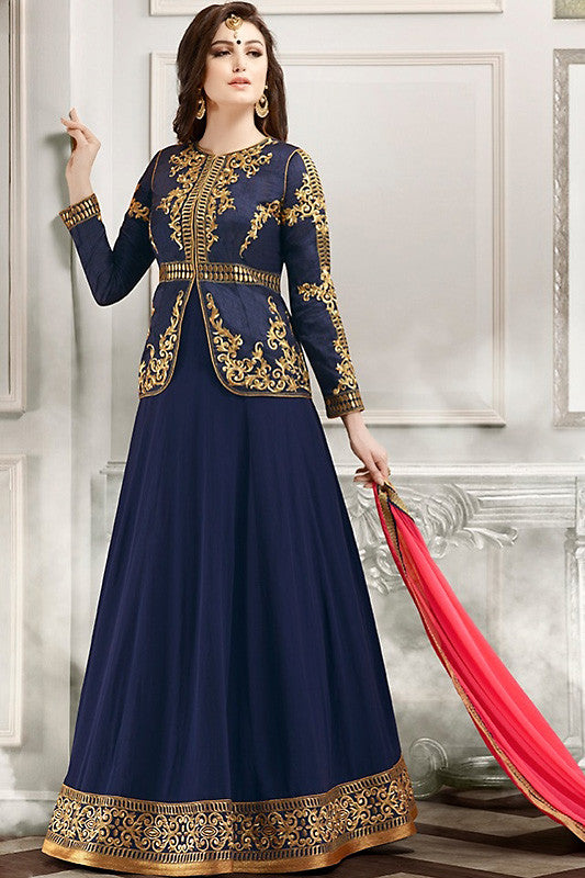Buy Blue Gold and Pink Faux Georgette Party Wear Anarkali Suit Online at indi.fashion