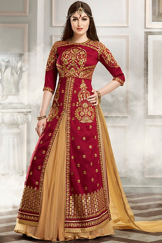 Buy Red Beige and Gold Bangalori Silk Party Wear Suit Style Lehenga Set Online at indi.fashion