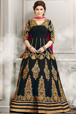 Indi Fashion Black Gold and Pink Faux Georgette Party Wear Anarkali Suit