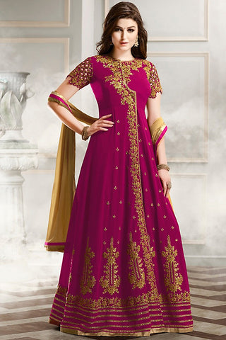 Indi Fashion Magenta Gold and Beige Faux Georgette Party Wear Anarkali Suit
