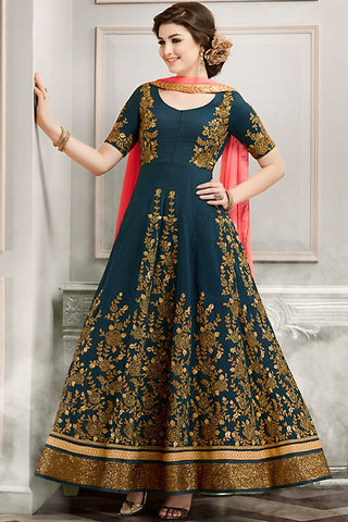 Indi Fashion Blue Gold and Pink Silk Party Wear Anarkali Suit