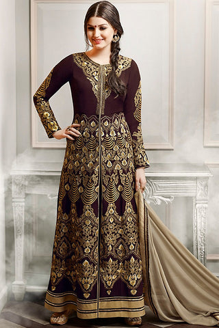 Indi Fashion Wine Gold and Beige Faux Georgette Party Wear Anarkali Suit