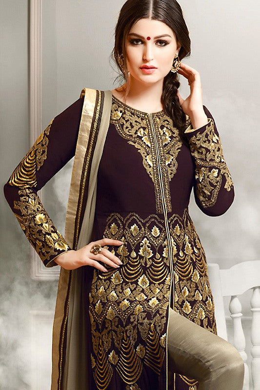 Buy Wine Gold and Beige Faux Georgette Party Wear Anarkali Suit Online at indi.fashion