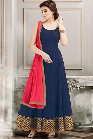 Indi Fashion Blue Gold and Pink Faux Georgette Party Wear Anarkali Suit