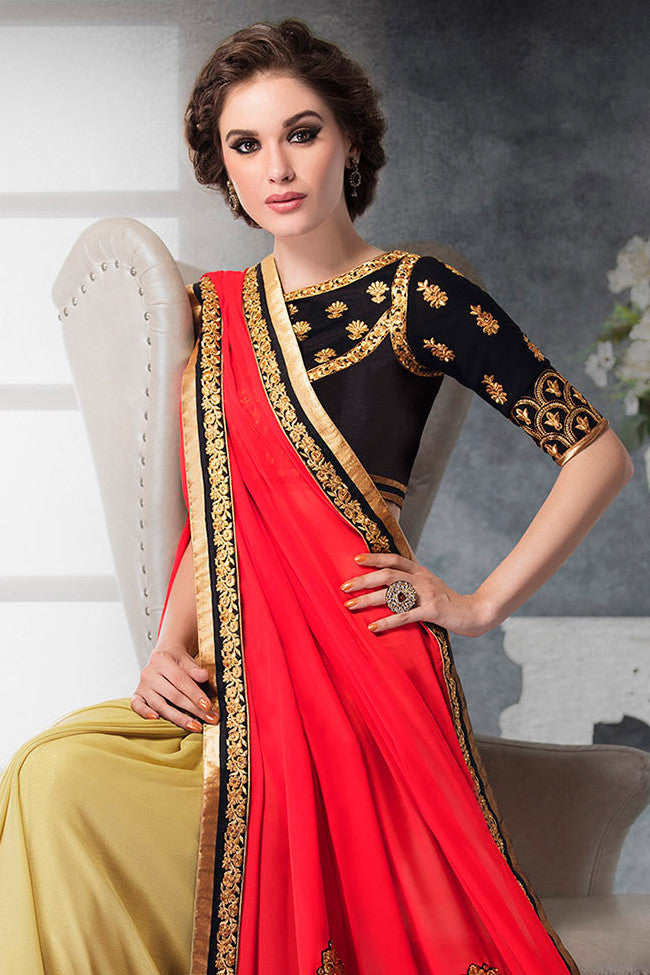 Indi Fashion Red Black and Beige Georgette and Dhupian Silk Embroidered Saree