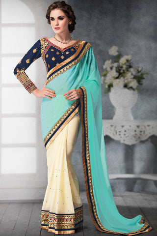 Indi Fashion Royal Sky Blue and Cream Georgette and Dhupian Silk Embroidered Saree