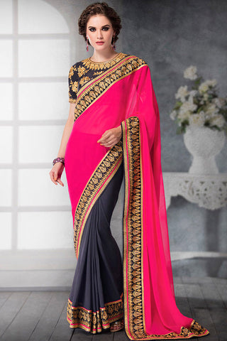 Indi Fashion Pink and Dark Grey Georgette and Dhupian Silk Embroidered Saree