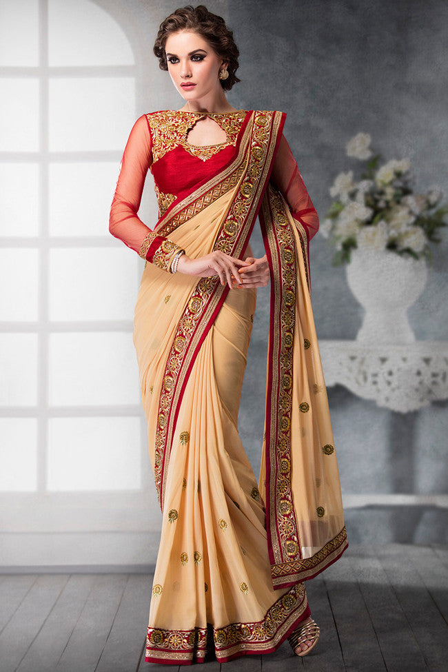 Indi Fashion Red and Cream Georgette and Dhupian Silk Embroidered Saree