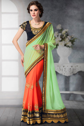 Indi Fashion Orange Pastel Green and Blue Georgette and Dhupian Silk Embroidered Saree