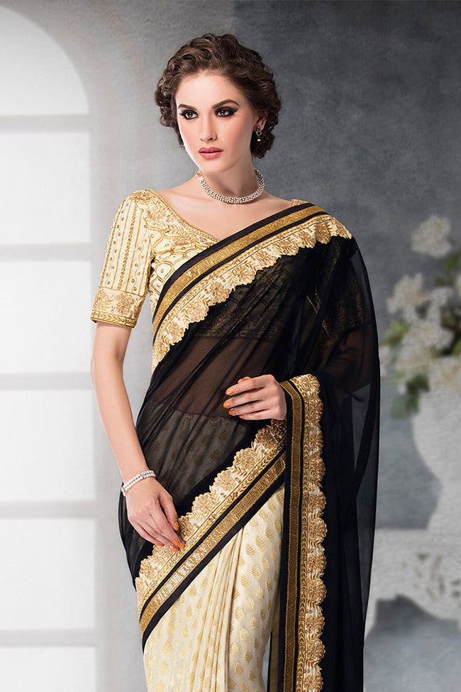 Indi Fashion Off-White and Black Georgette and Dhupian Silk Embroidered Saree