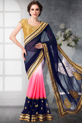 Indi Fashion Golden Beige Blue and Pink Shaded Georgette and Dhupian Silk Embroidered Saree