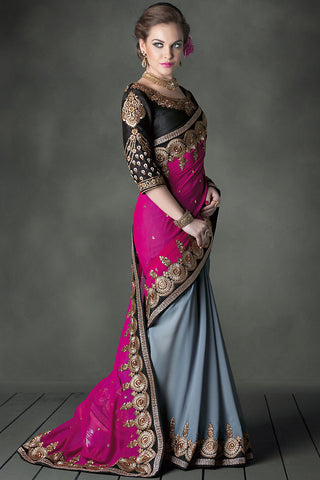 Contrasting Grey and Magenta Heavy Bridal Saree