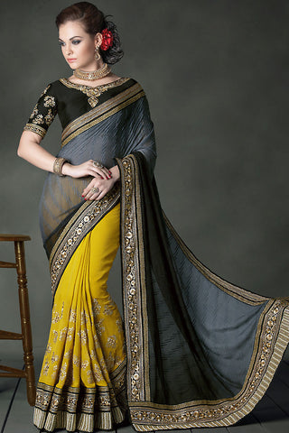 Indi Fashion Half and Half grey and mustard yellow Heavy Bridal Saree