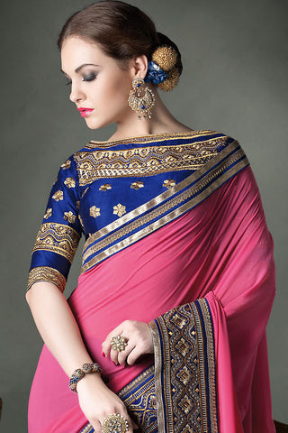 Indi Fashion Royal Blue and Pink Bridal Saree with Emroidery