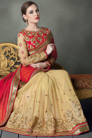 Indi Fashion Red and Beige Heavy Bridal Saree