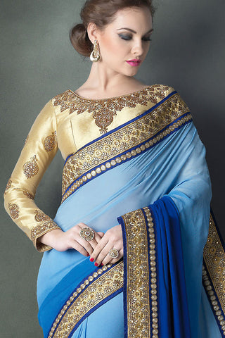Indi Fashion Half and half Shades of Blue Heavy Bridal Saree