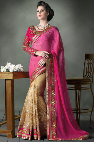 Indi Fashion Pink and Beige Heavy Bridal Saree