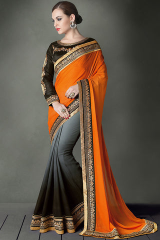 Indi Fashion Orange and Black Bridal Saree with Emroidery