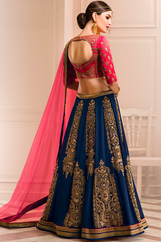 Indi Fashion Red Blue and Gold Georgette Wedding Lehenga Set