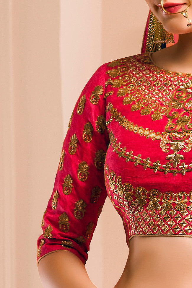 Buy Red Blue and Gold Georgette Wedding Lehenga Set Online at indi.fashion