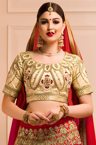 Indi Fashion Cream Red and Gold Bangalori Silk Wedding Lehenga Set