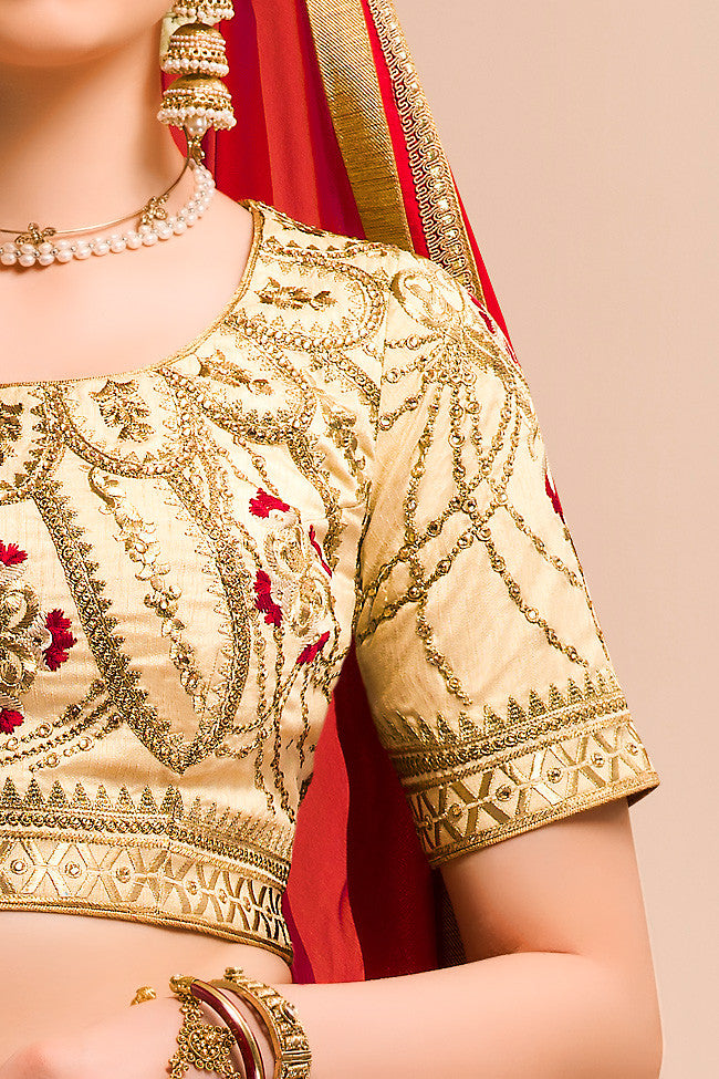 Buy Cream Red and Gold Bangalori Silk Wedding Lehenga Set Online at indi.fashion