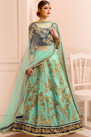 Indi Fashion Sea Green Blue and Gold Bangalori Silk Wedding Lehenga Set