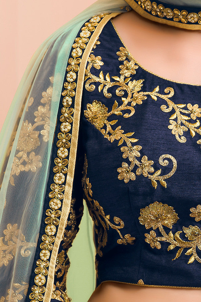 Buy Sea Green Blue and Gold Bangalori Silk Wedding Lehenga Set Online at indi.fashion