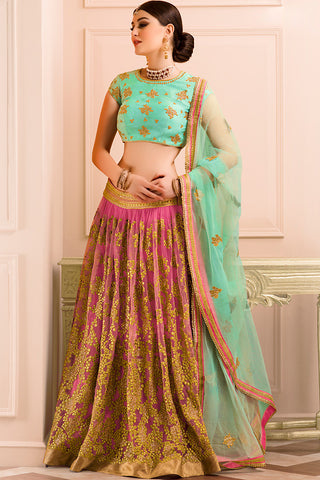 Indi Fashion Sea Green Pink and Gold Soft Net Wedding Lehenga Set
