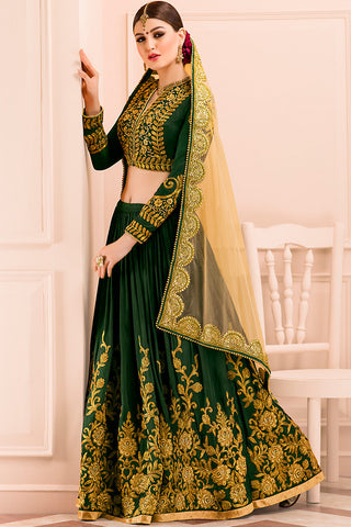 Indi Fashion Deep Forest Green and Gold Mudal Silk Wedding Lehenga Set